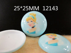 1 Piece -   CINDERELLA CIRCLE DOME RESIN  - SIZE  1 inch (25mm)