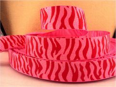 1 Yard 1 inch  TIGER - RED STRIPES ON PINK IRIDESCENT (GLITTER) RIBBON - ANIMAL PRINT -  Printed Grosgrain Ribbon