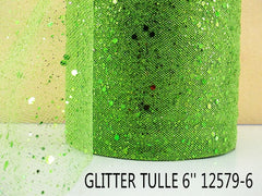 6 INCH WIDTH - GLITTER SPARKLE TULLE - LIME GREEN - BY THE YARD