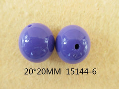 1 Piece  - 20MM ROUND BEAD 15144-6 - PURPLE - CHUNKY - FOR NECKLACE - BRACELET BEADS