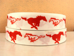 1 yard 7/8 inch RED MUSTANGS ON WHITE   -  Printed Grosgrain Ribbon