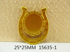 1 Piece  - 1 inch center - Gold Tone Horseshoe Frame for Resin Center  - Accent - Flat Back Flatback Cameo Cap 15635-1