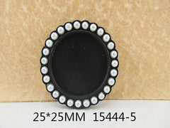 1 Piece  33 mm - 1 inch center  - Round Black w/ Pearl Frame for Resin Center - 13444-5 - Accent - Flat Back Flatback