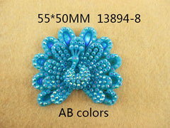 1 Piece  55 mm - Sparkle Peacock Resin - 13894-8 - Accent - Flat Back Flatback approx. 2 inches