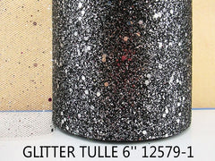 6 INCH WIDTH - GLITTER SPARKLE TULLE - BLACK / SILVER - BY THE YARD