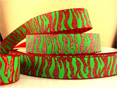 1 Yard 1 inch  TIGER - CHRISTMAS LIME GREEN STRIPES ON RED IRIDESCENT (GLITTER) RIBBON - ANIMAL PRINT -  Printed Grosgrain Ribbon