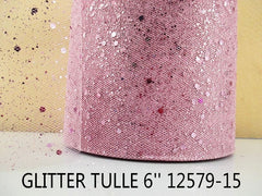 6 INCH WIDTH - GLITTER SPARKLE TULLE - LIGHT PINK - BY THE YARD