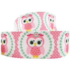 1 Yard 1 inch  - OWL - OWLS - Light Pink on White -  Printed Grosgrain Ribbon