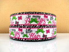 1 yard  1 inch So Many Bows So Little Hair on White Background  - Printed Grosgrain Ribbon