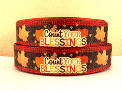 1 Yard 1 inch COUNT YOUR BLESSINGS - RED AND BROWN BURLAP LOOK  -  THANKSGIVING -  Printed Grosgrain Ribbon