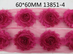 1 Piece  - Sparkle Hot Pink Shabby Chic, Frayed Flower, Vintage Look for Headband, Hairclip, Hairbow