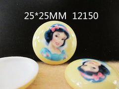 1 Piece -   SNOW WHITE PRINCESS CIRCLE DOME RESIN  - SIZE  1 inch (25mm)