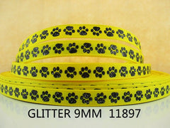 1 Yard 3/8 inch TINY BLACK GLITTER PAWS ON YELLOW ( thin ) STYLE 11897 -  Printed Grosgrain Ribbon
