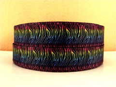 1 Yard 7/8 inch THIN MULTICOLOR ZEBRA LINES ON BLACK  -  Printed Grosgrain Ribbon