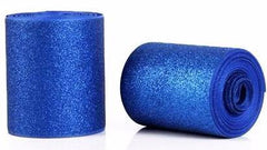 1 Yard - 3 inch Blue Glitter Super Sparkle Grosgrain Ribbon for 3 inch Cheer Hair Bow - Back of Ribbon is Blue Grosgrain 3