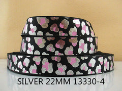 1 Yard 7/8 inch SILVER WITH PINK CHEETAH LEOPARD ON BLACK - ANIMAL PRINT - 13330-4 -  Printed Grosgrain Ribbon