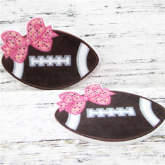1 Piece -   Football with Pink Bow Flat back Planar Resin - Sports  - Approx.  1 1/2 inch