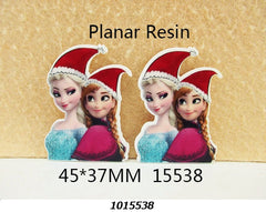 1 Piece -   Frozen Elsa AND Anna With Christmas Hat - Flat Resin  - Approx.  1 3/4 inch