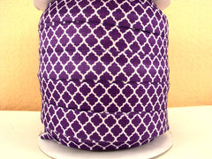 1 Yard -  5/8 inch - WHITE MODERN LINK ON PURPLE   - Fold Over Elastic FOE