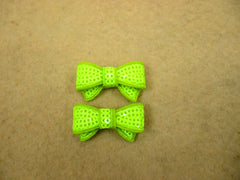 2 Piece -  SMALL Neon Green Sequin Bow Accent - Approx. 1 1/2 inch