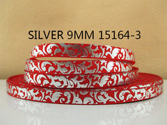 1 Yard 3/8 inch SILVER SWIRLS ON RED - FILIGREE DAMASK  15164-3 Printed Grosgrain Ribbon