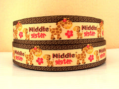 1 Yard 1 inch Middle Sister - Cute Giraffes  - Printed Grosgrain Ribbon