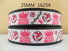 1 Yard 1 inch   - VOLLEYBALL QUEEN - HOT PINK - SPORTS 16254 -   Printed Grosgrain Ribbon