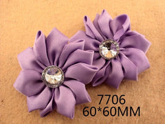 1 Piece  - LAVENDER SATIN MANY PETAL FLOWER WITH ACCENT for Headband, Hairclip, Hairbow