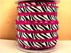 1 Yard -  5/8 inch - BLACK AND WHITE ZEBRA ON HOT PINK BORDER   - Fold Over Elastic FOE