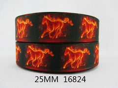 1 Yard 1 inch FLAME HORSES - HORSE - FIRE ON BLACK 16824 -  Printed Grosgrain Ribbon