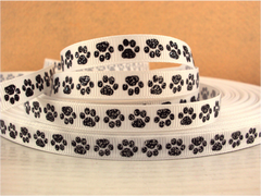 1 Yard 3/8 inch TINY BLACK GLITTER PAWS ON WHITE ( thin ) -  Printed Grosgrain Ribbon