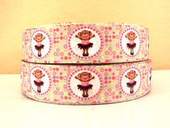 1 yard  1 inch  BALLET MONKEYS - CIRCLE DESIGN -  Printed Grosgrain Ribbon