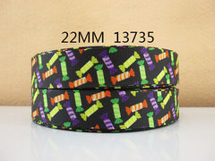 1 Yard 7/8 inch HALLOWEEN CANDY CANDIES ON BLACK  -  Printed Grosgrain Ribbon