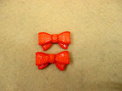 2 Piece -  SMALL Neon Orange Sequin Bow Accent - Approx. 1 1/2 inch
