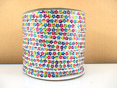 1 Yard 7/8 inch MULTICOLOR FLOWER SEQUIN ON WHITE GROSGRAIN - SEQUINS -  Grosgrain Ribbon