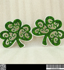 1 PIECE - Approx. 1.5 inches - Dark Green Three Leaf Clover Green - St. Patricks - Flat Back Resin Accent