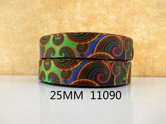1 Yard 1 inch Kaleidoscope PATTERN 11090  -  Printed Grosgrain Ribbon