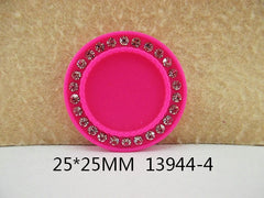 1 Piece  33 mm - 1 inch center  - Round HOT PINK w/ clear Crystal Frame for Resin Center - 13944-4 - Accent - Flat Back Flatback Cameo