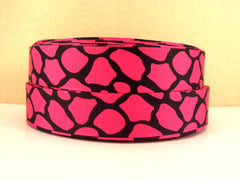1 Yard 7/8 inch HOT PINK GIRAFFE ON BLACK - BIG PRINT -  Printed Grosgrain Ribbon