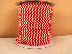 1 Yard -  5/8 inch - RED AND WHITE CHEVRON  - Fold Over Elastic FOE