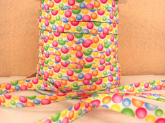 1 Yard 3/8 inch FUNKY LACES - CANDY BUBBLES  - DOUBLE SIDED - SHOE LACES - COTTON