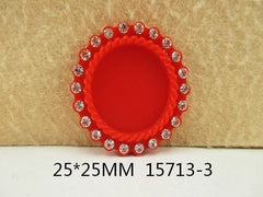 1 Piece -   Rhinestone Resin Cameo -  Red - Center is 1 inch circle 15713-3 Cap Cameo