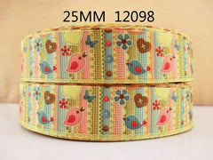 1 yard  1 inch Cutest Little Birdies Bird Birds on Pale Yellow - 12098  - Printed Grosgrain Ribbon