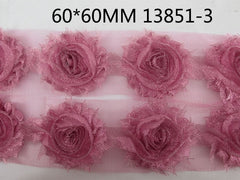 1 Piece  - Sparkle Romantic Pink Shabby Chic, Frayed Flower, Vintage Look for Headband, Hairclip, Hairbow
