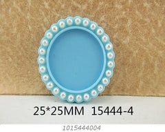 1 Piece -   Pearl Resin Cameo -  Light Blue - Center is 1 inch circle 15444-4 Cap Cameo