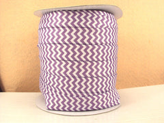 1 Yard -  5/8 inch - Light Purple and White Chevron - Fold Over Elastic FOE
