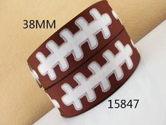 1 Yard 1.5 inch   - WHITE FOOTBALL LACES ON BROWN - FOOTBALLS - SPORTS  15847 ( THICK )  -   Printed Grosgrain Ribbon