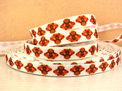 1 Yard 3/8 inch TINY TURKEY TURKEYS - THANKSGIVING - FALL - AUTUMN -   Printed Grosgrain Ribbon