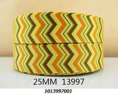 1 Yard - 1 inch - THANKSGIVING CHEVRON - PATTERN - STYLE 13997 - Printed Grosgrain Ribbon