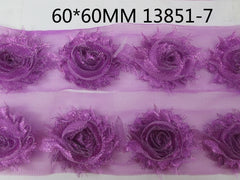 1 Piece  - Sparkle Pretty Purple Shabby Chic, Frayed Flower, Vintage Look for Headband, Hairclip, Hairbow